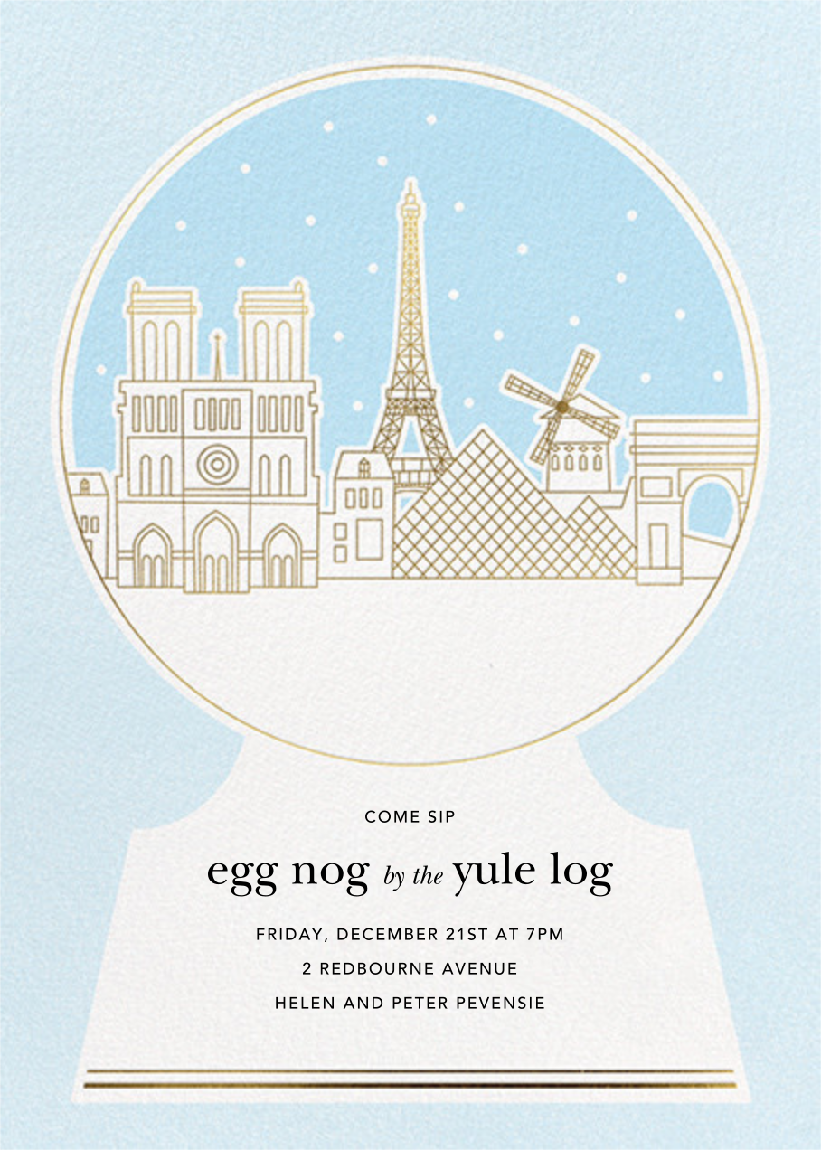 Paris Skyline Snowglobe - Paperless Post - Winter parties