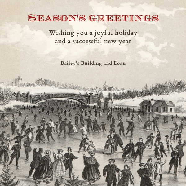Central Park Skating - Square - John Derian - Business holiday cards