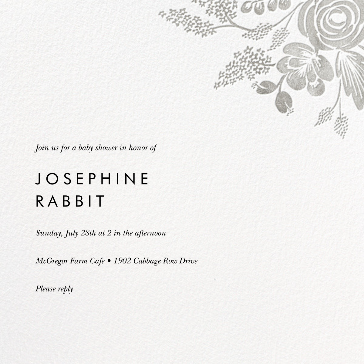 Heather and Lace (Square) - Silver - Rifle Paper Co. - Baby shower