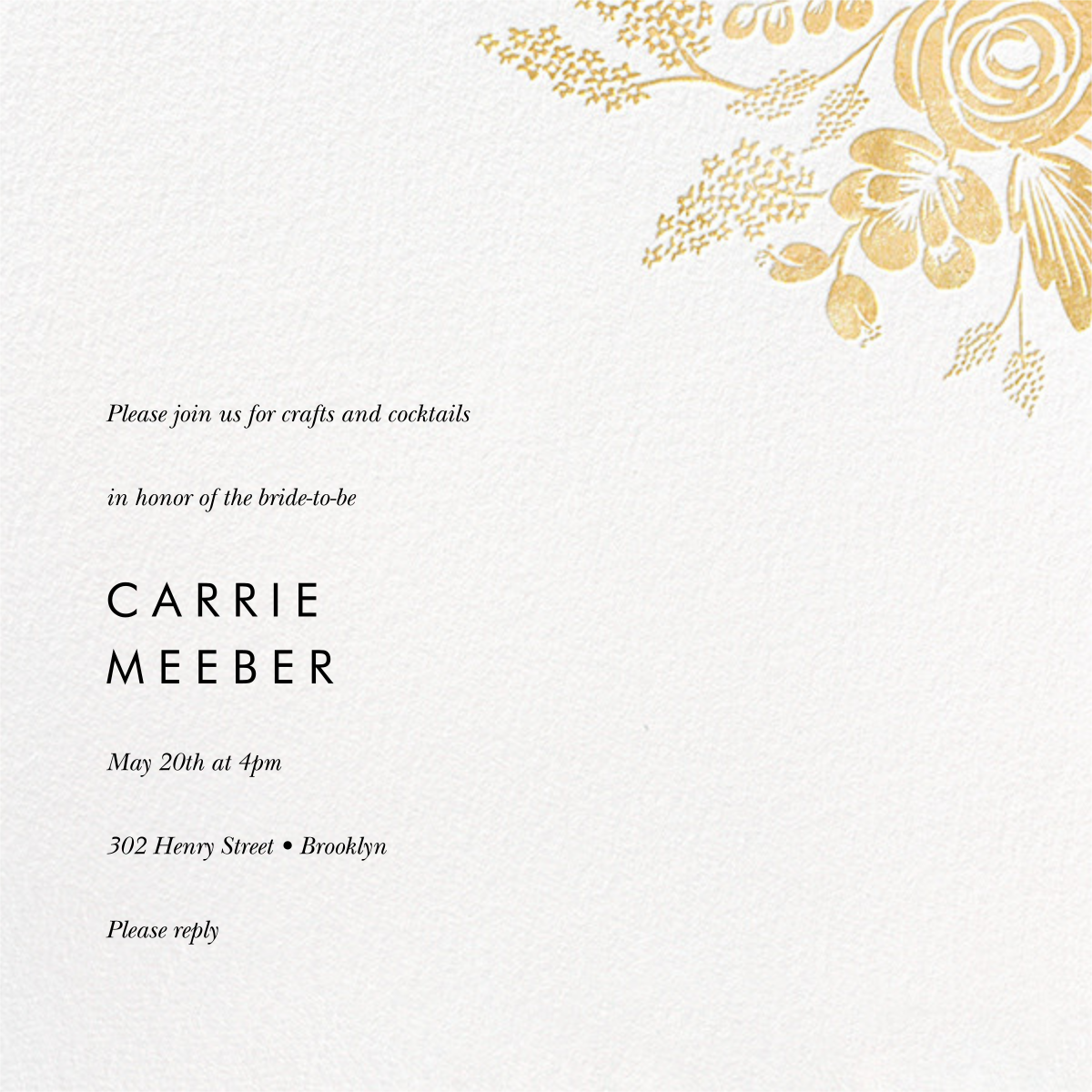 Heather and Lace (Square) - Gold - Rifle Paper Co. - Bridal shower