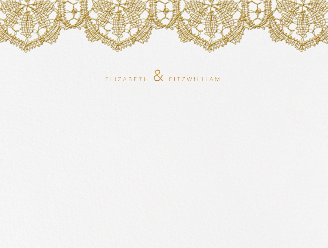 Antique Lace (Thank You) - Medium Gold - Oscar de la Renta - Personalized stationery