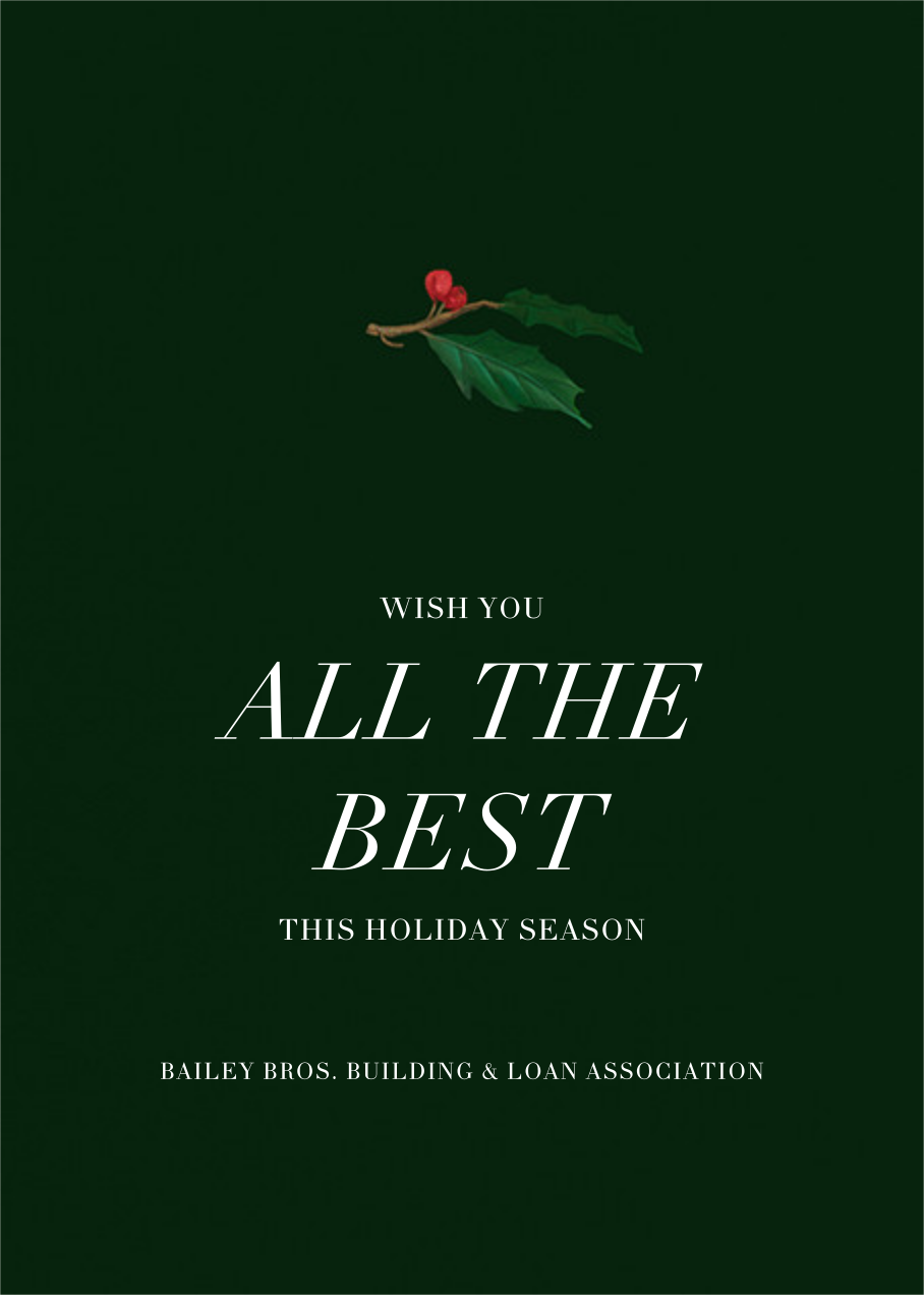 Holly Branch Holiday - Paperless Post - Company holiday cards - card back