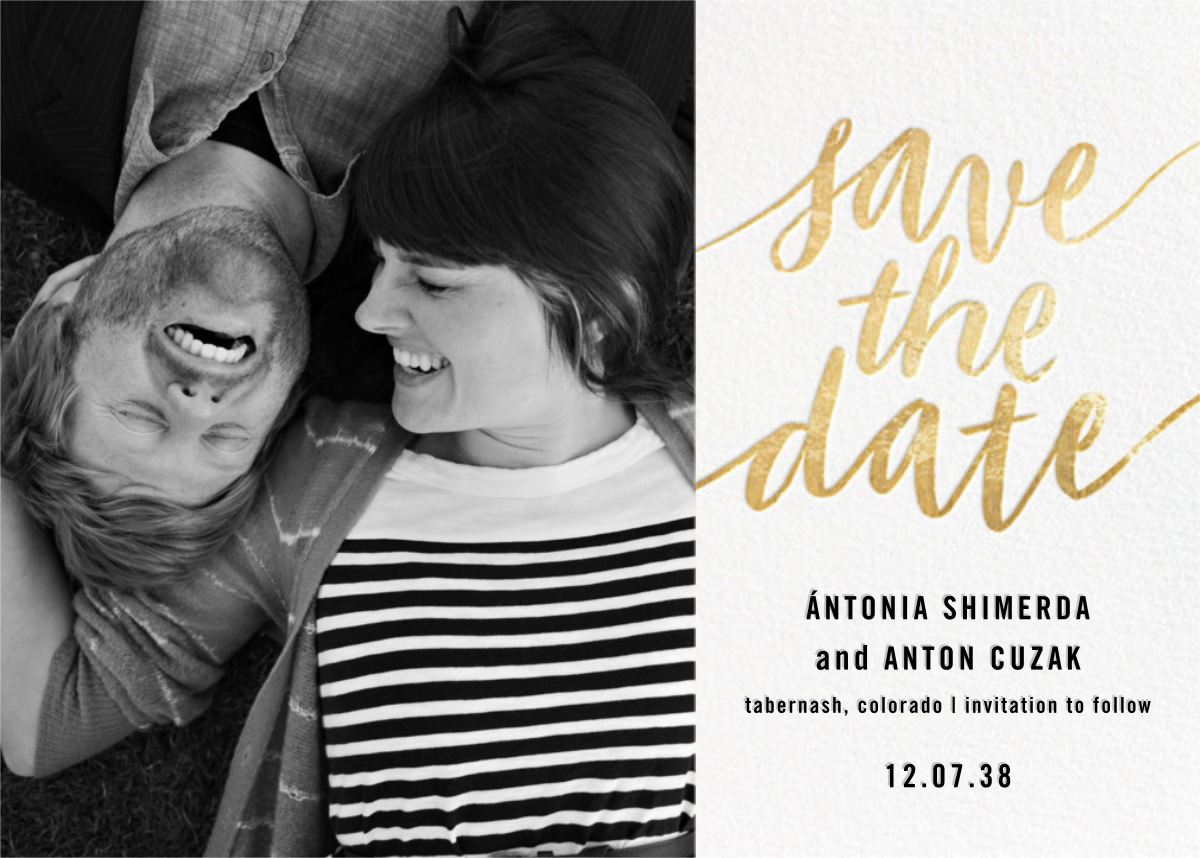 Evelina (Photo) - White/Gold - Paperless Post - Save the date