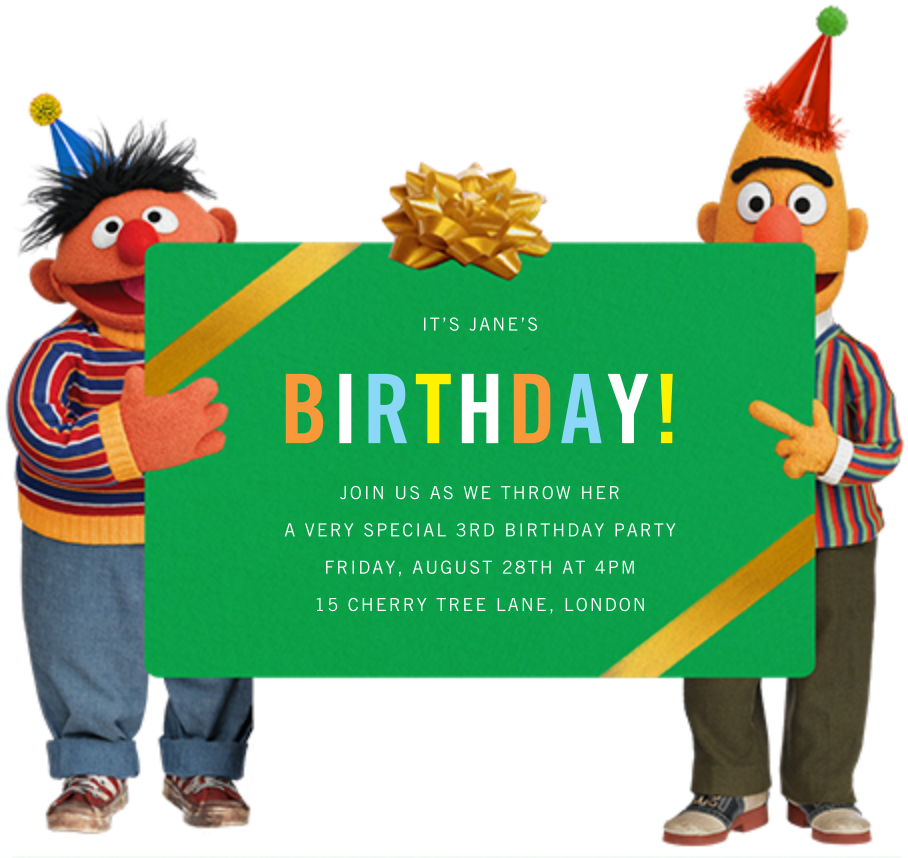 Bert and Ernie - Sesame Street - Kids' birthday