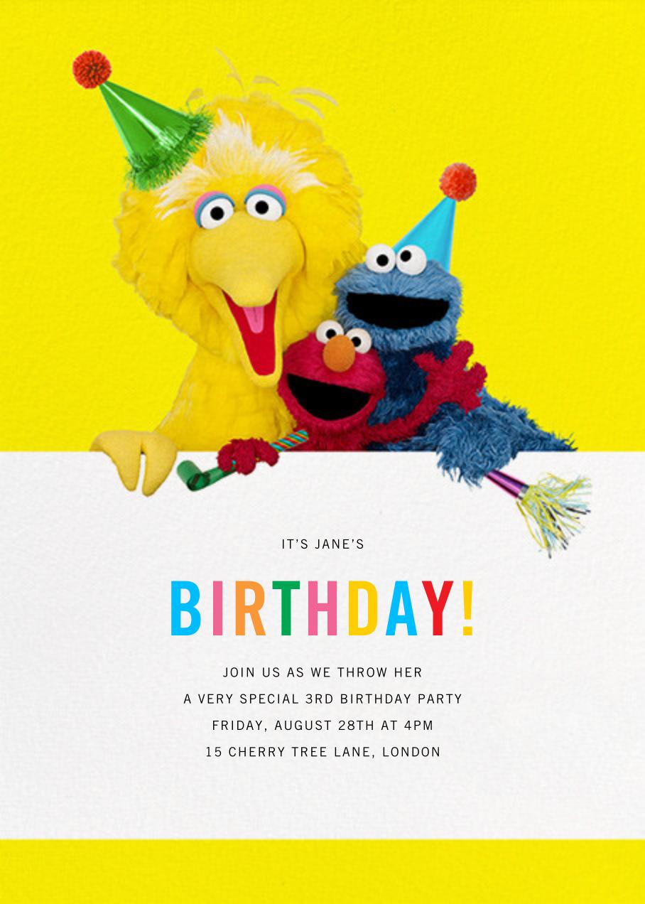 Big Yellow Trio - Sesame Street - First birthday and baby