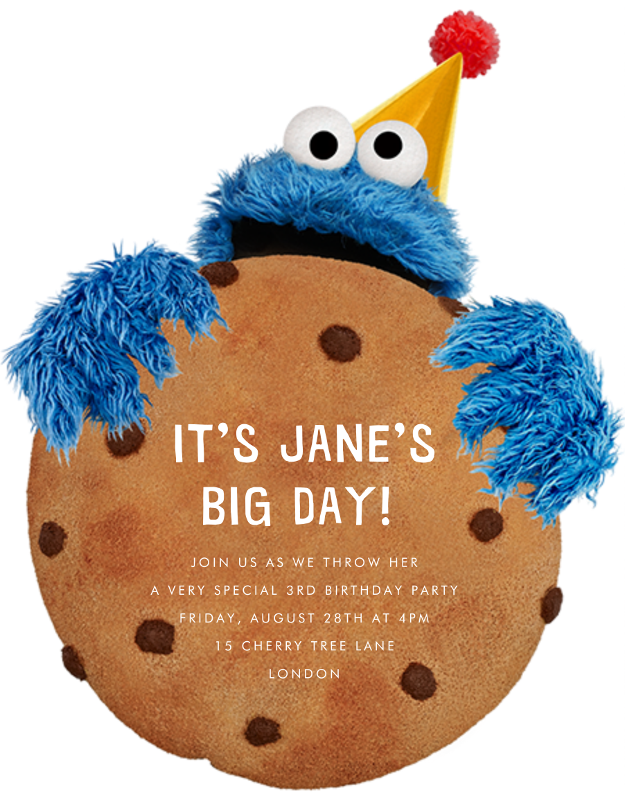Monster-Size Cookie - Sesame Street - First birthday and baby