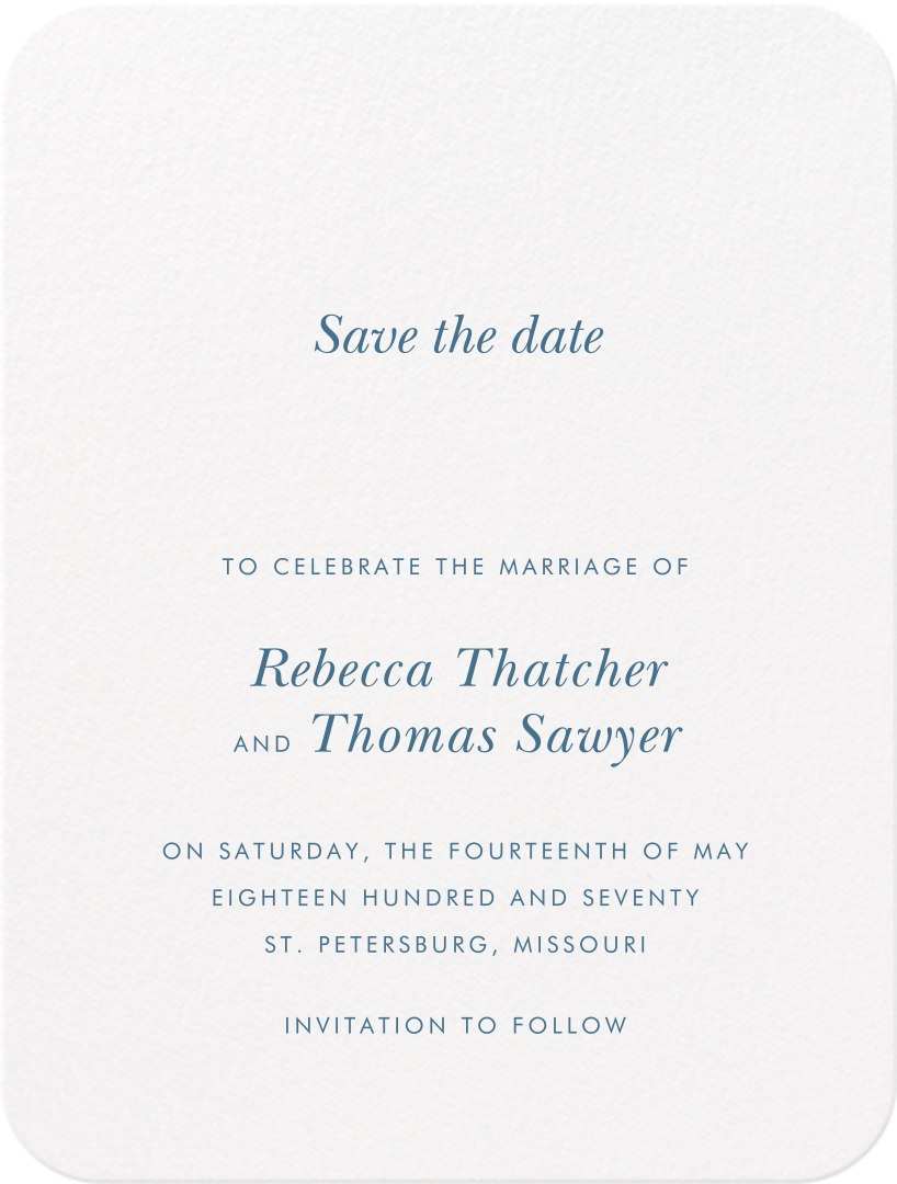 Andros (Save The Date) - French Blue - Crane & Co. - null