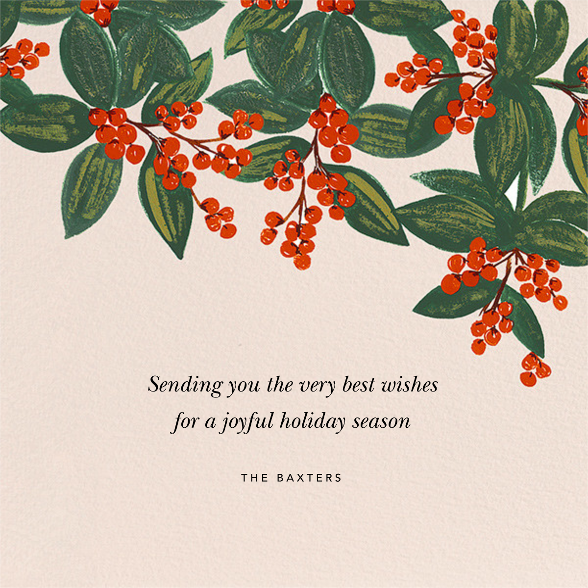 Holly Berries - Rifle Paper Co. - Holiday cards - card back