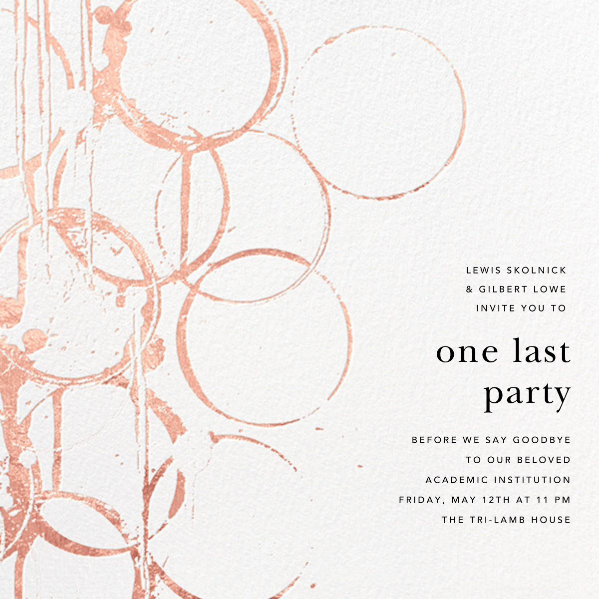 Bottle Shock - Rose Gold - Kelly Wearstler - Graduation party