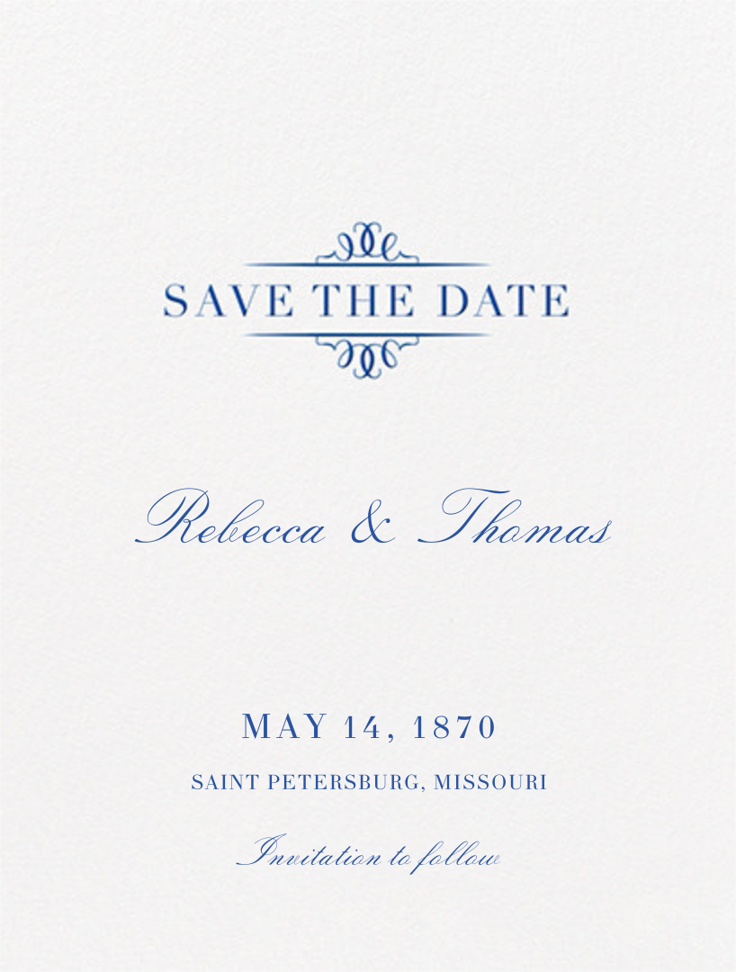 Cheverny (Save The Date) - Regent Blue - Crane & Co. - Save the date