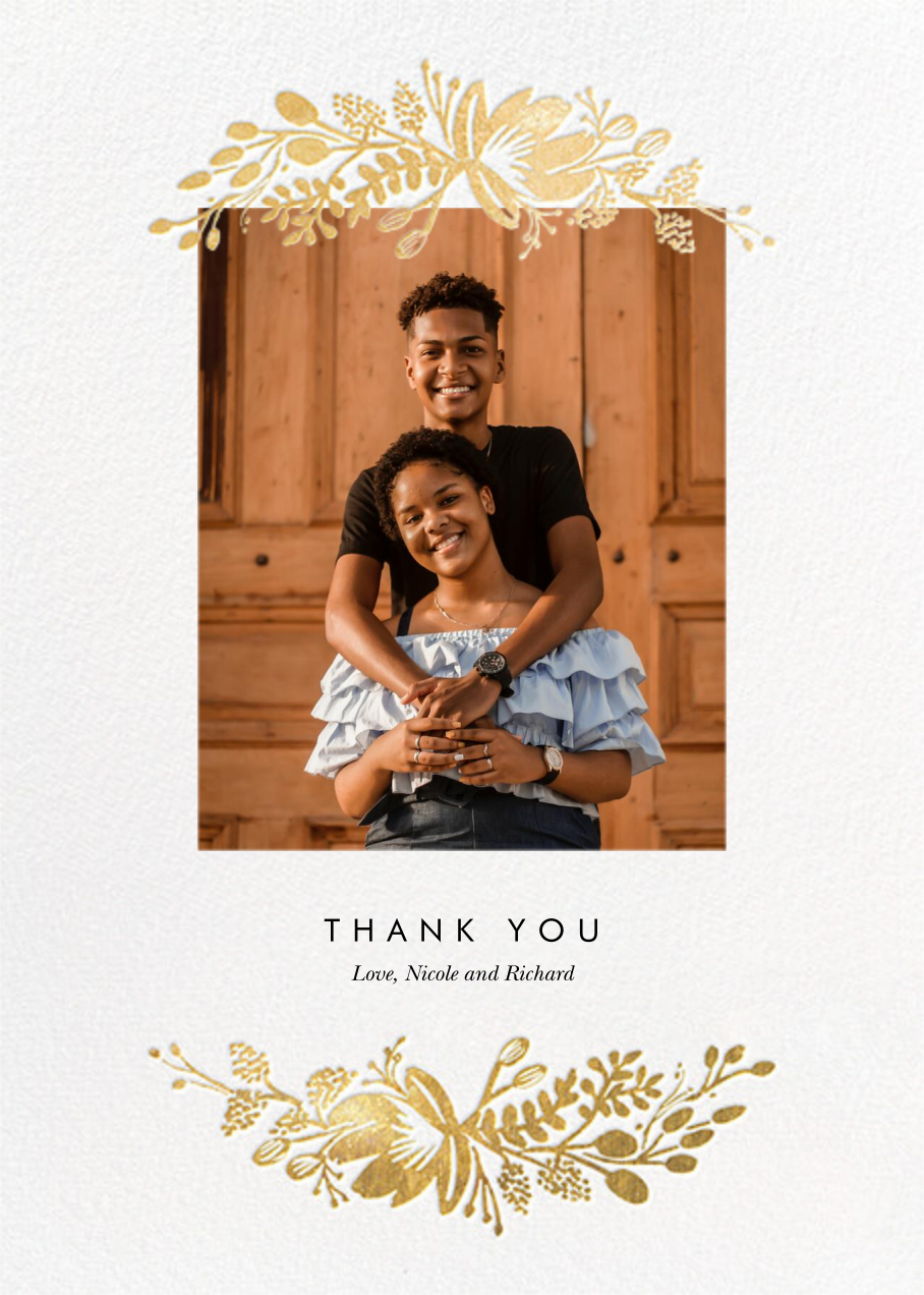 Floral Silhouette (Portrait Photo) - White/Gold - Rifle Paper Co. - Wedding