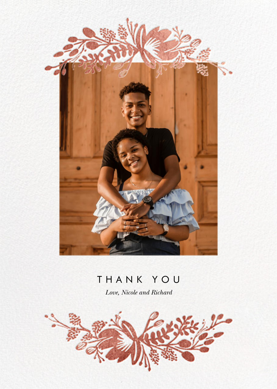 Floral Silhouette (Portrait Photo) - White/Rose Gold - Rifle Paper Co. - Wedding