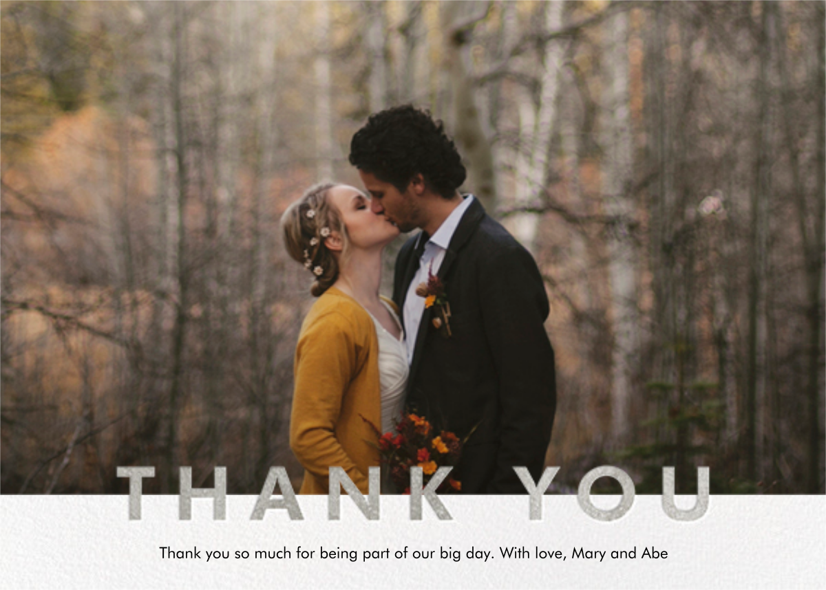 Field of Thanks Photo (Single-Sided) - Silver - Paperless Post - Wedding