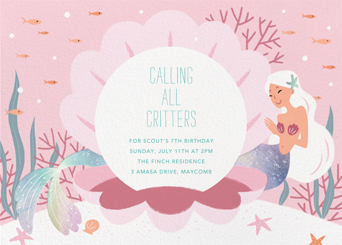 Mermaid Cove - Sherbet - Paperless Post - Mermaid birthday invitations