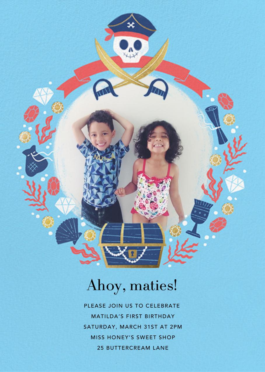 Pirate Treasure - Paperless Post - Mermaid birthday invitations