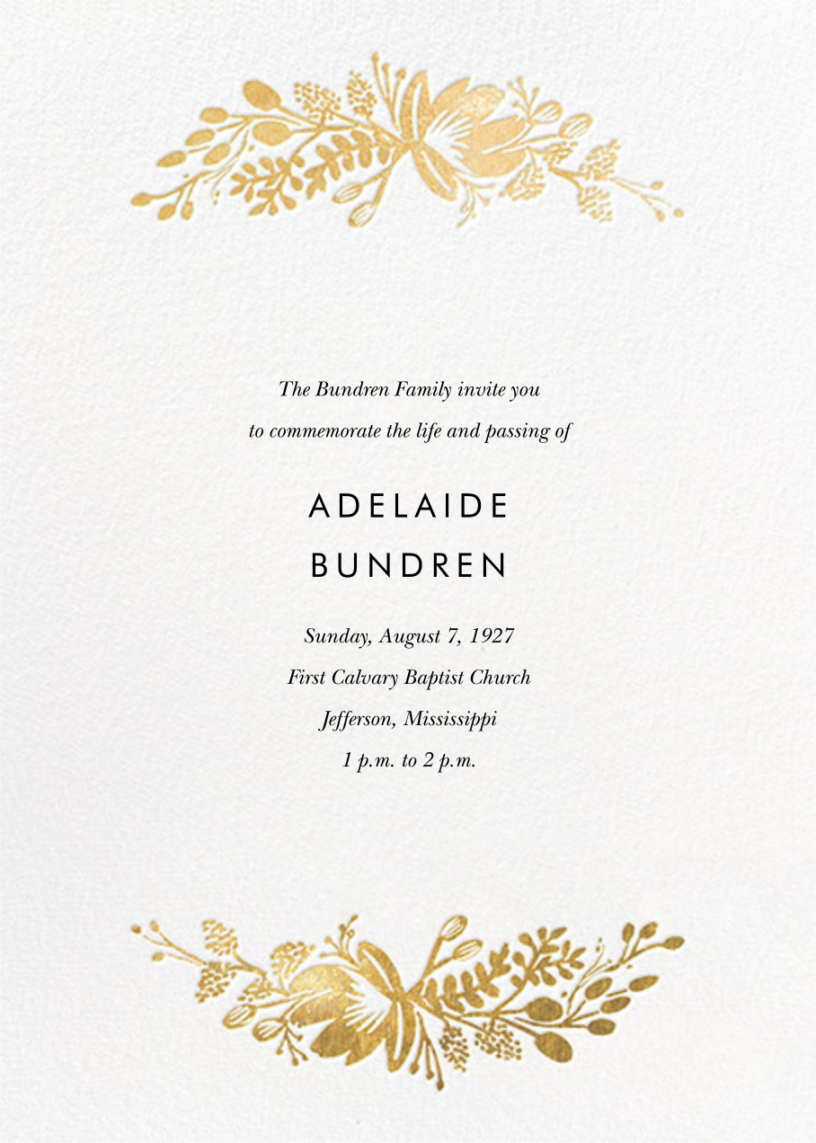 Floral Silhouette (Invitation) - White/Gold - Rifle Paper Co. - Memorial service