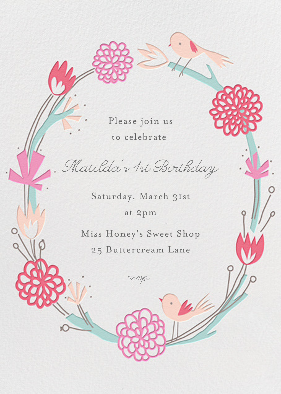 Birdie Makes A Wreath - Little Cube - Babylist Baby Shower Invitations