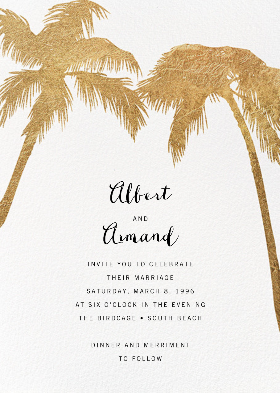 Tropical Palm - White - Paperless Post - Beach party invitations