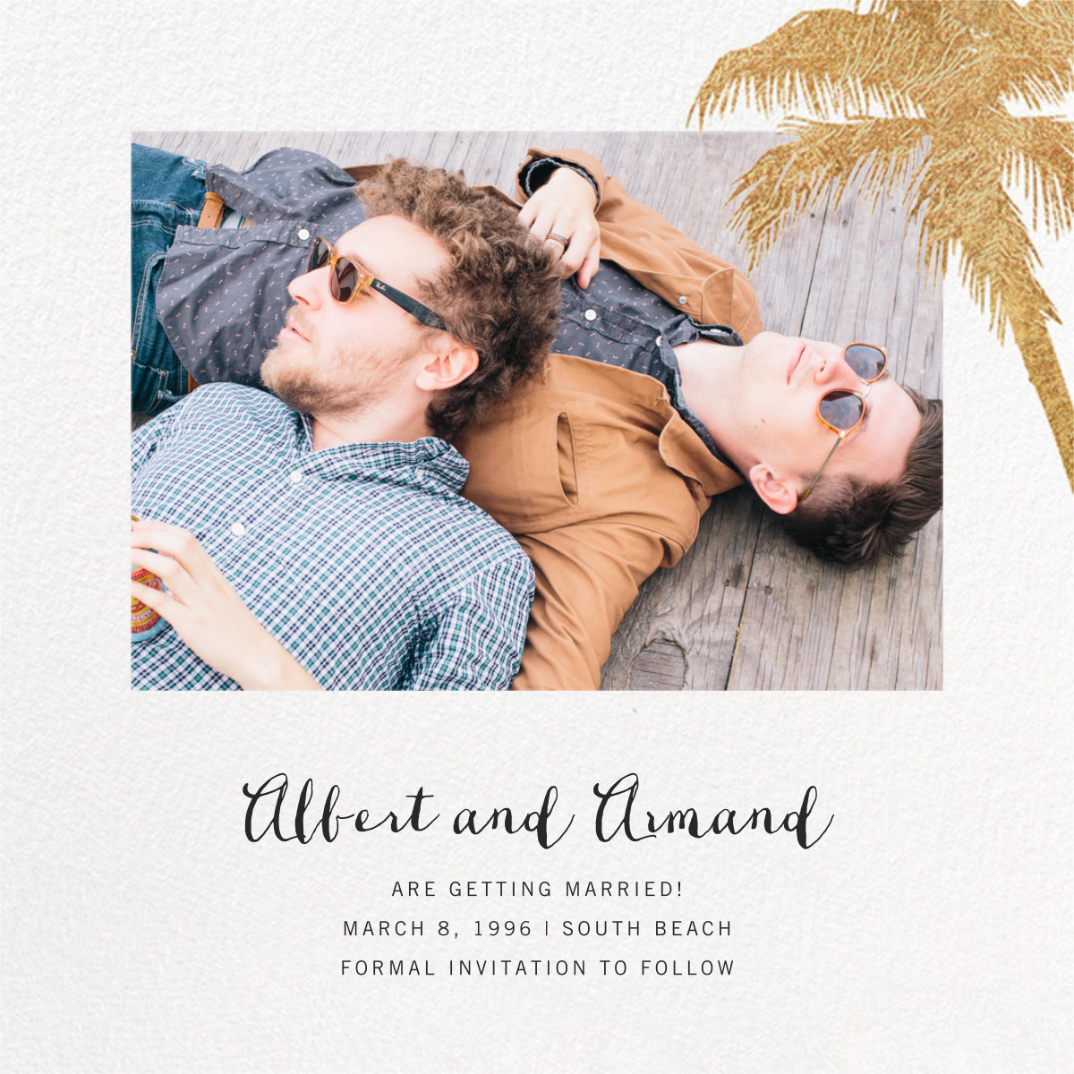 Tropical Palm (Photo Save the Date) - White - Paperless Post - Photo