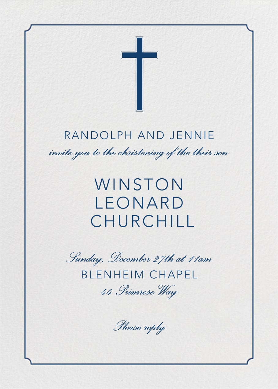Indented Rounded Corners (Tall) - Dark Blue - Paperless Post - Baptism
