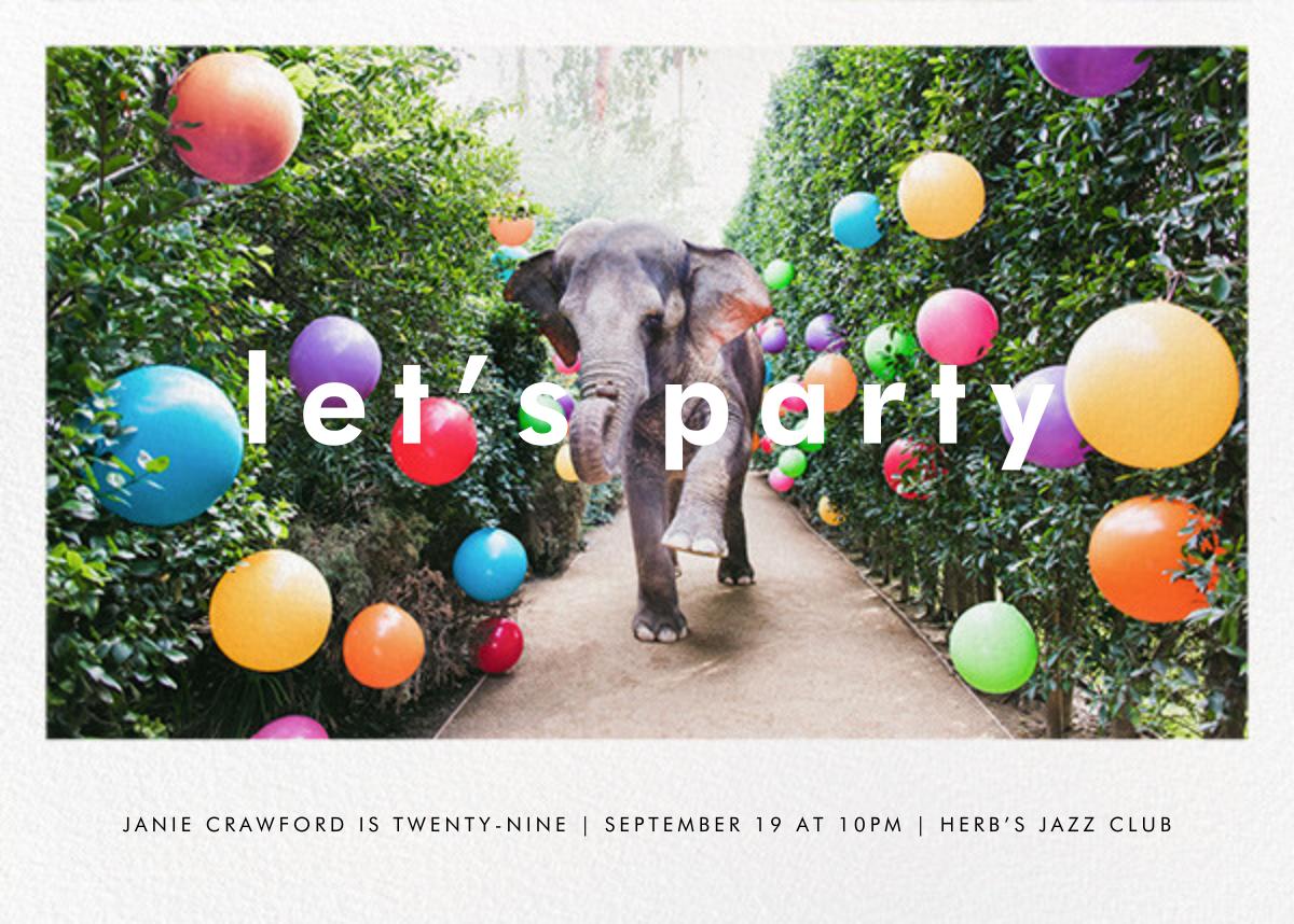 Elephant with Balloons II - Gray Malin - Adult birthday