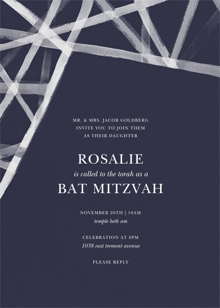 Channels (Invitation) - Navy - Kelly Wearstler - Bar and bat mitzvah