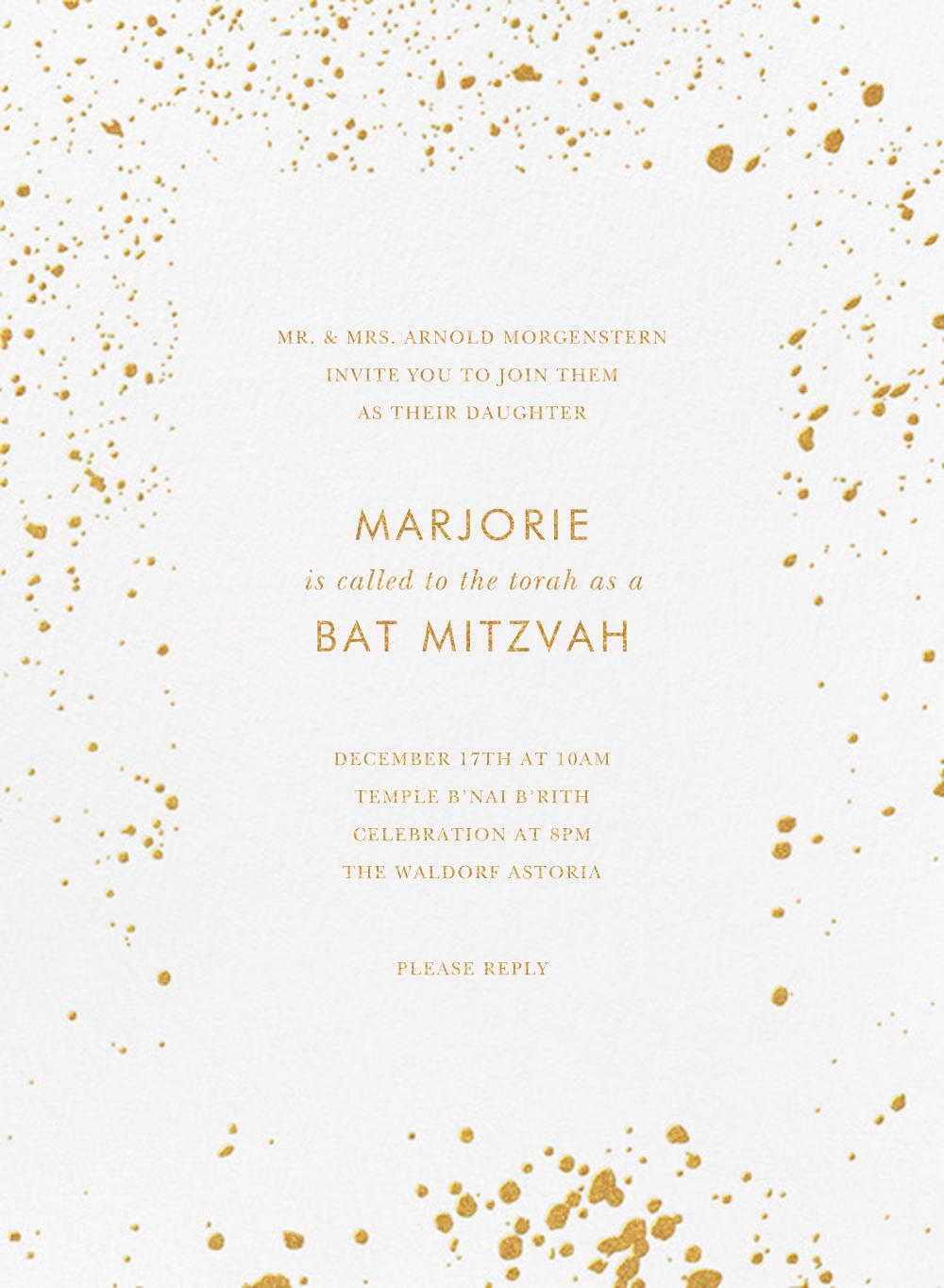 Splatter Cloth I (Invitation) - Gold - Paperless Post - Bar and bat mitzvah