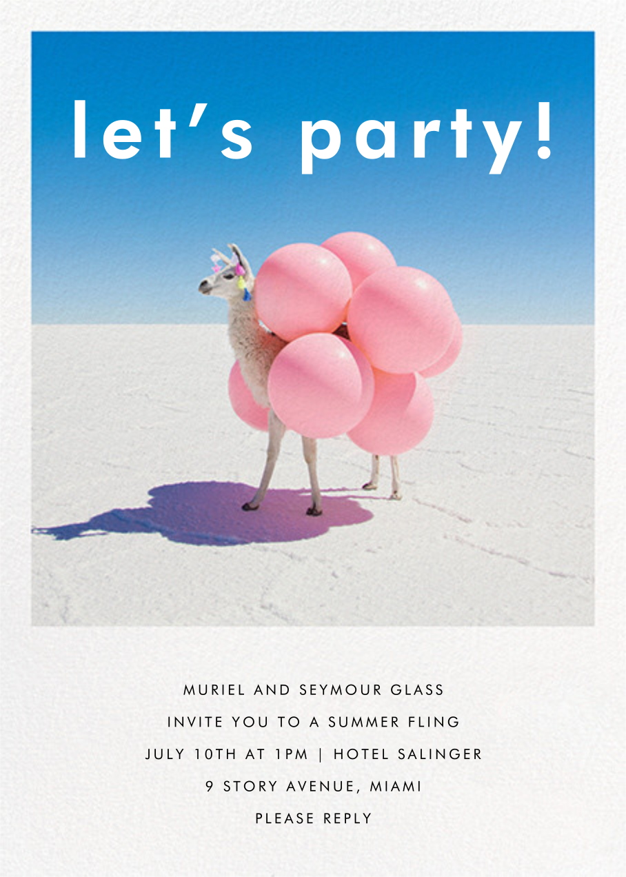 Llama with Balloons - Gray Malin - Western party invitations