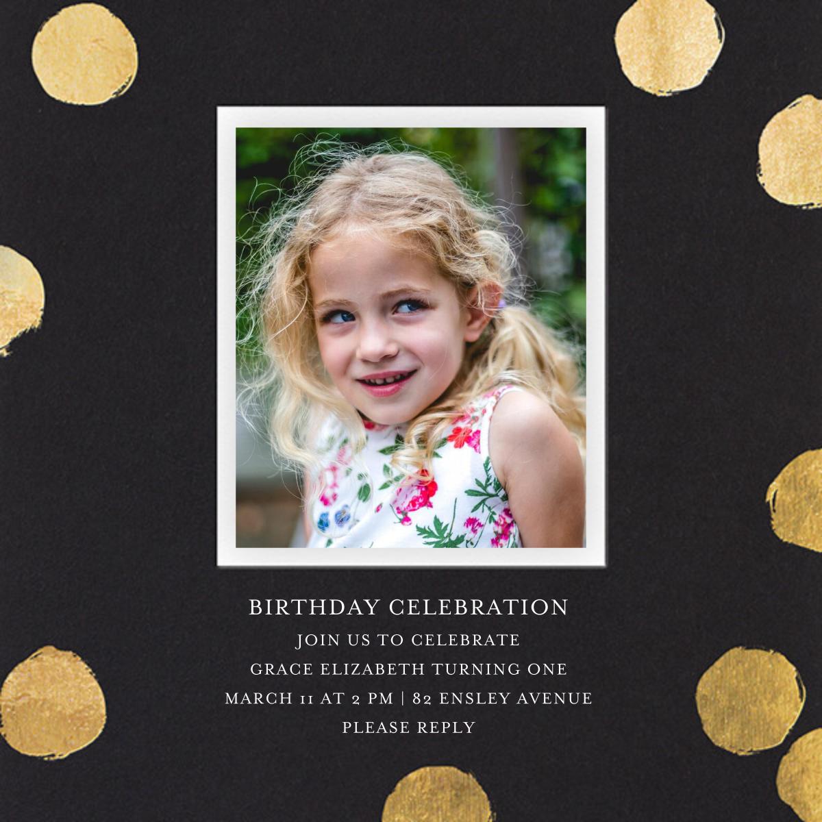 Reese (Photo) - Black/Gold - Sugar Paper - Kids' birthday