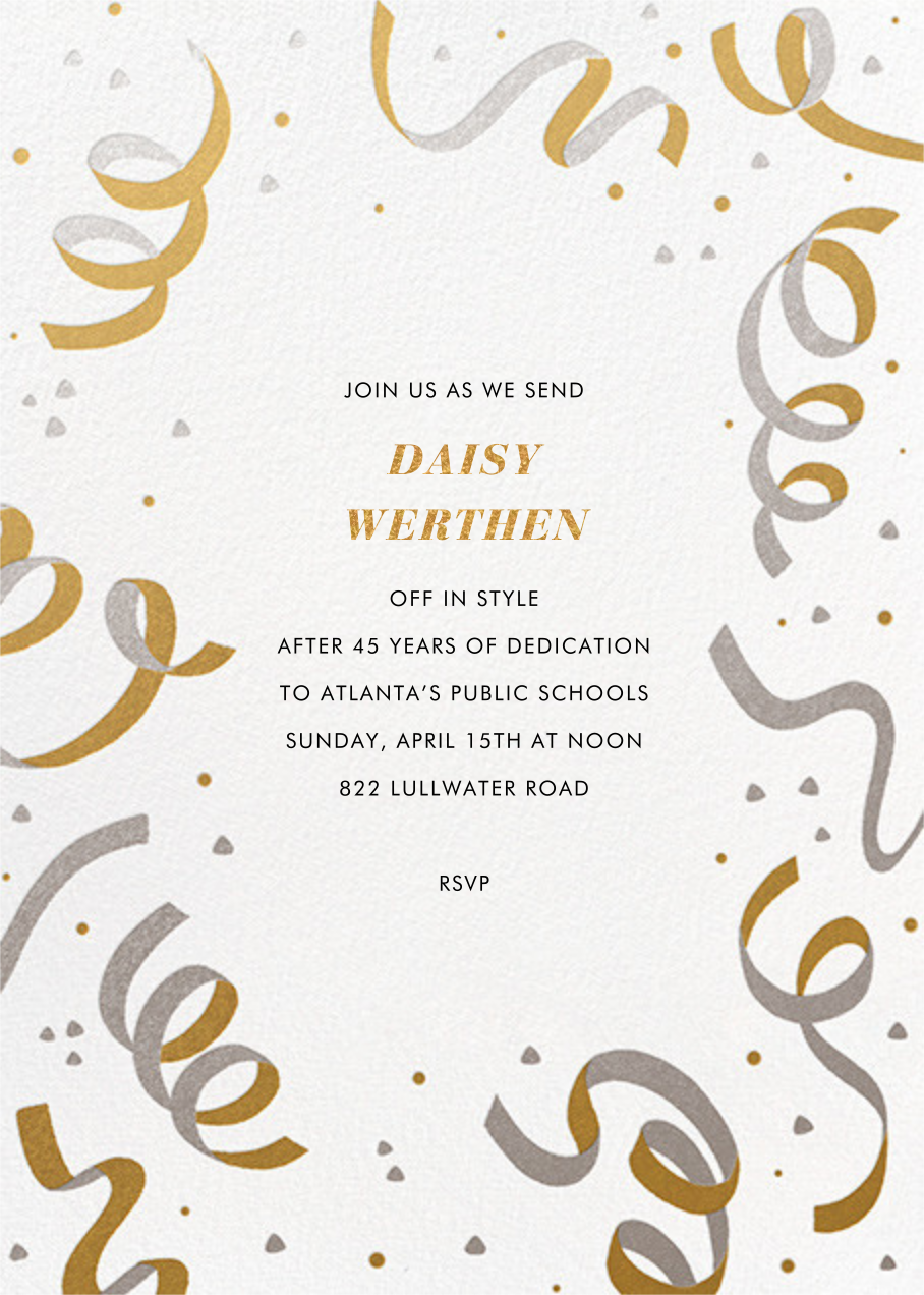 Confetti and Streamers - Gold/Silver - Paperless Post - Farewell party