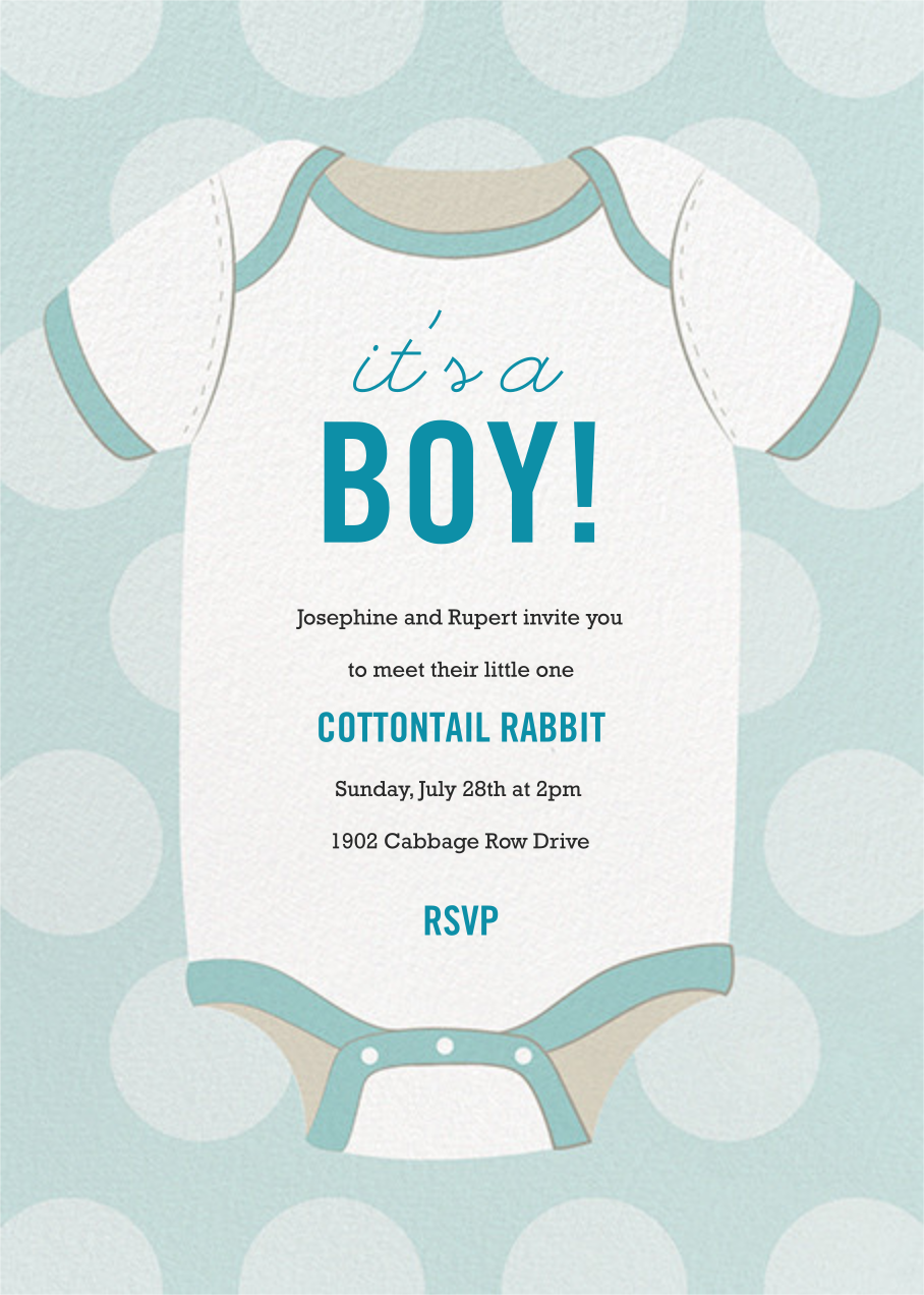 Baby Onesie - Blue - Paper Source - Baby shower