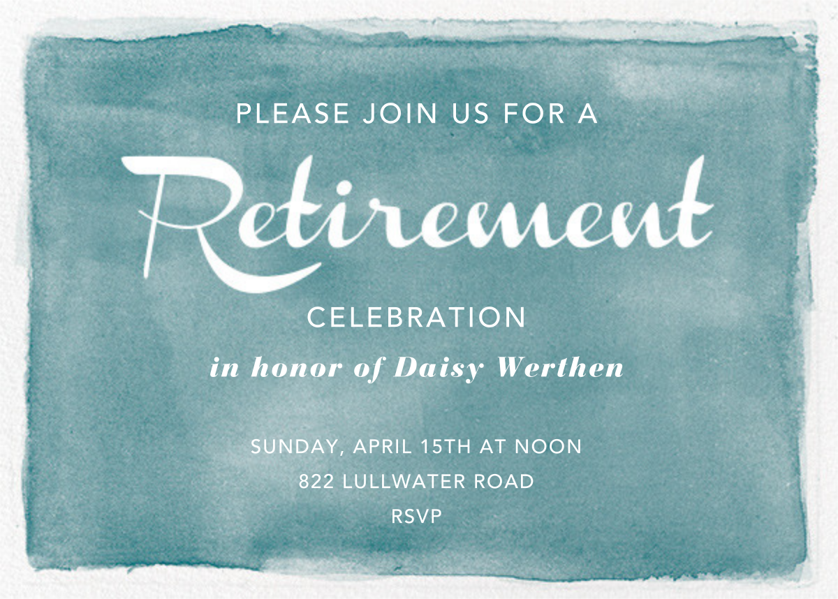 Watercolor Retirement - Teal - Paper Source - Retirement party