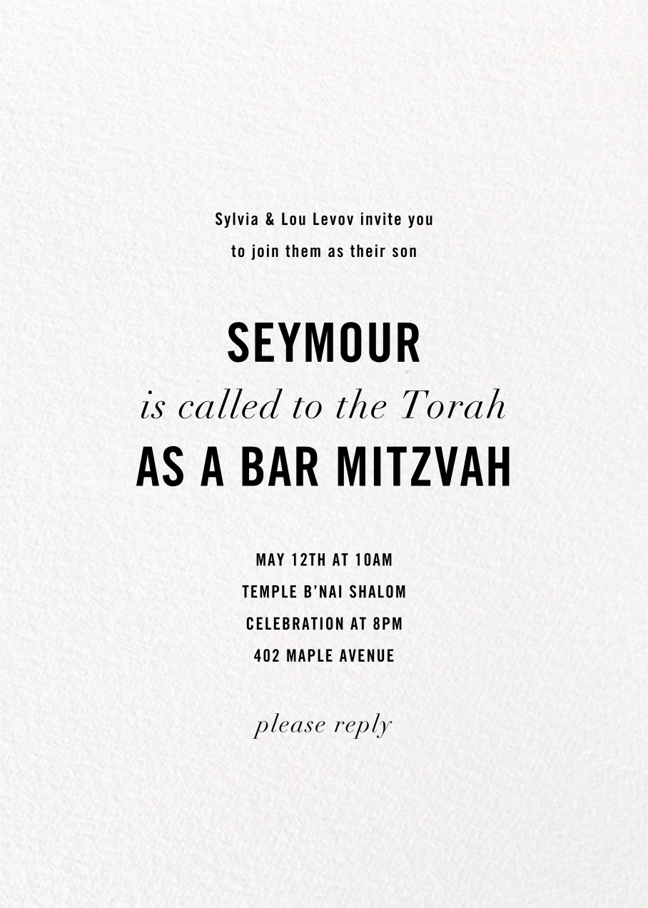 Confetti Tall (Double-Sided Photo) - Silver - kate spade new york - Bat and bar mitzvah - card back
