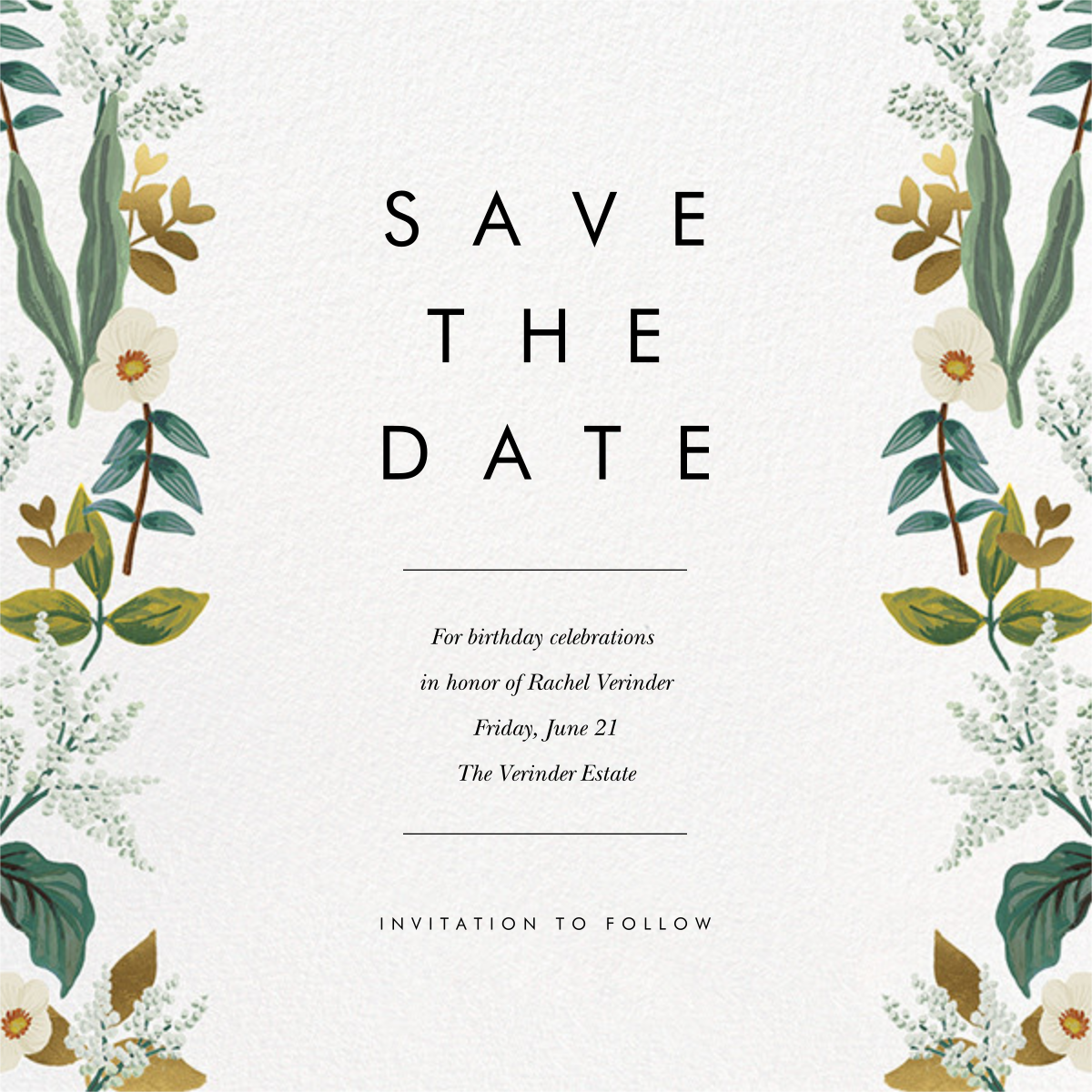 Meadow Garland (Square) - Rifle Paper Co. - Birthday save the dates