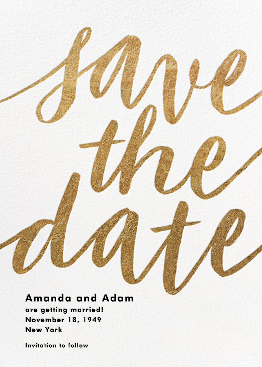 Evelina - White/Gold - Paperless Post - Save the date