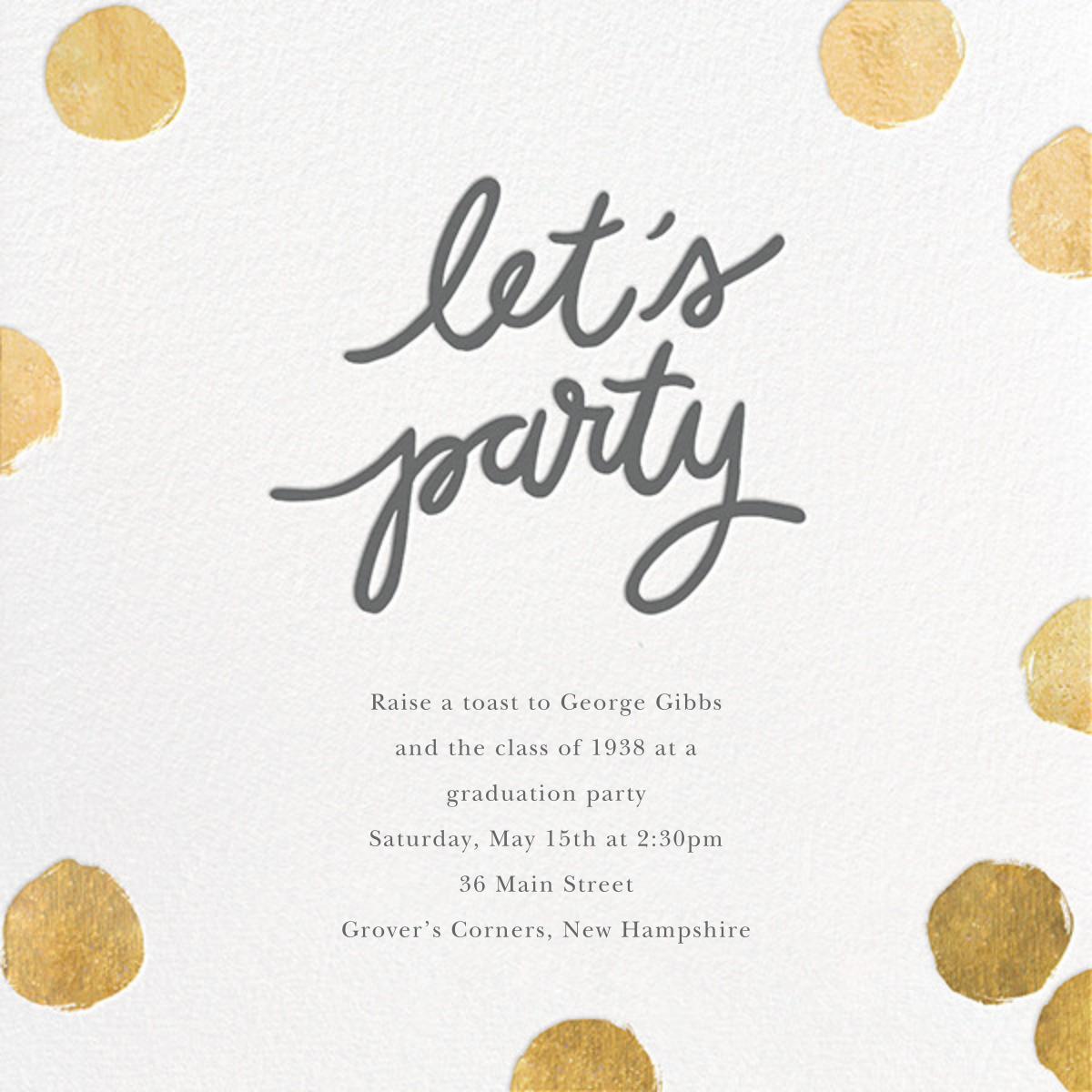 Big Dot Party - Gold - Sugar Paper - Graduation party