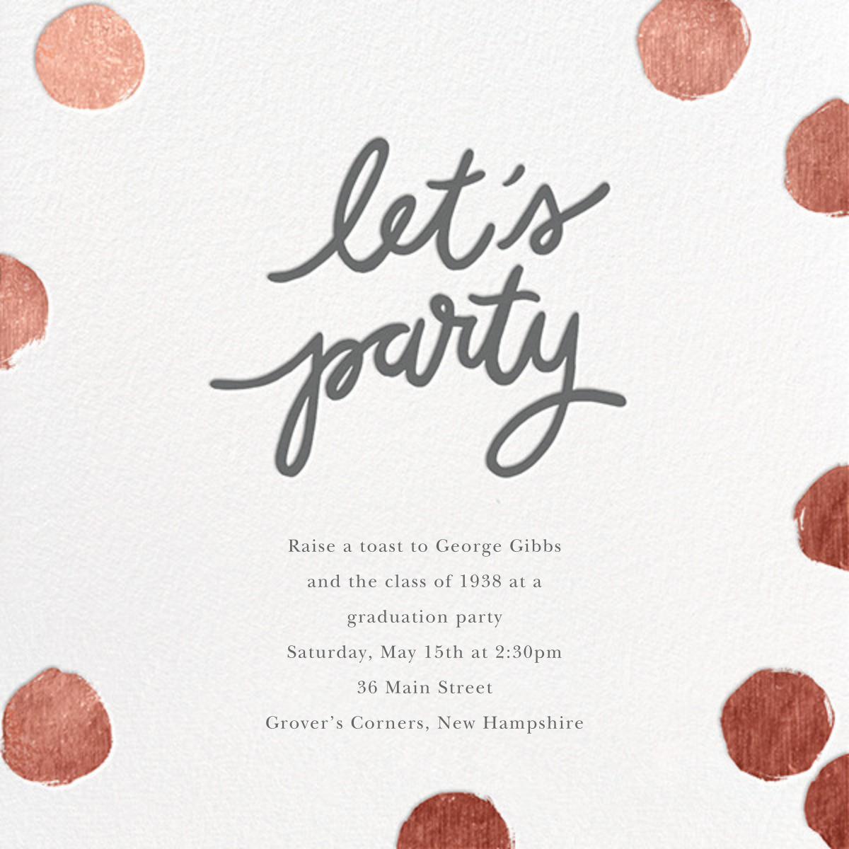 Big Dot Party - Rose Gold - Sugar Paper - Graduation party