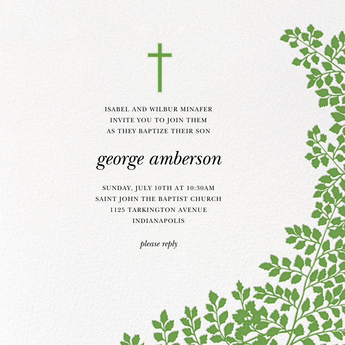 Fern II - Green - Paperless Post - Baptism