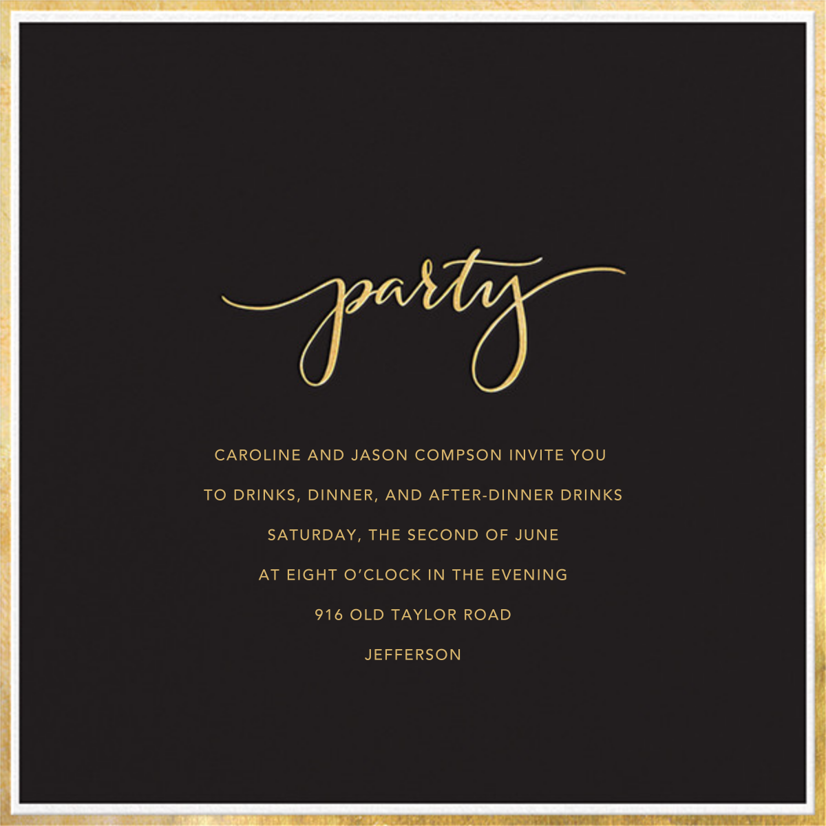 Fine Band Party - Black - Sugar Paper - Dinner party