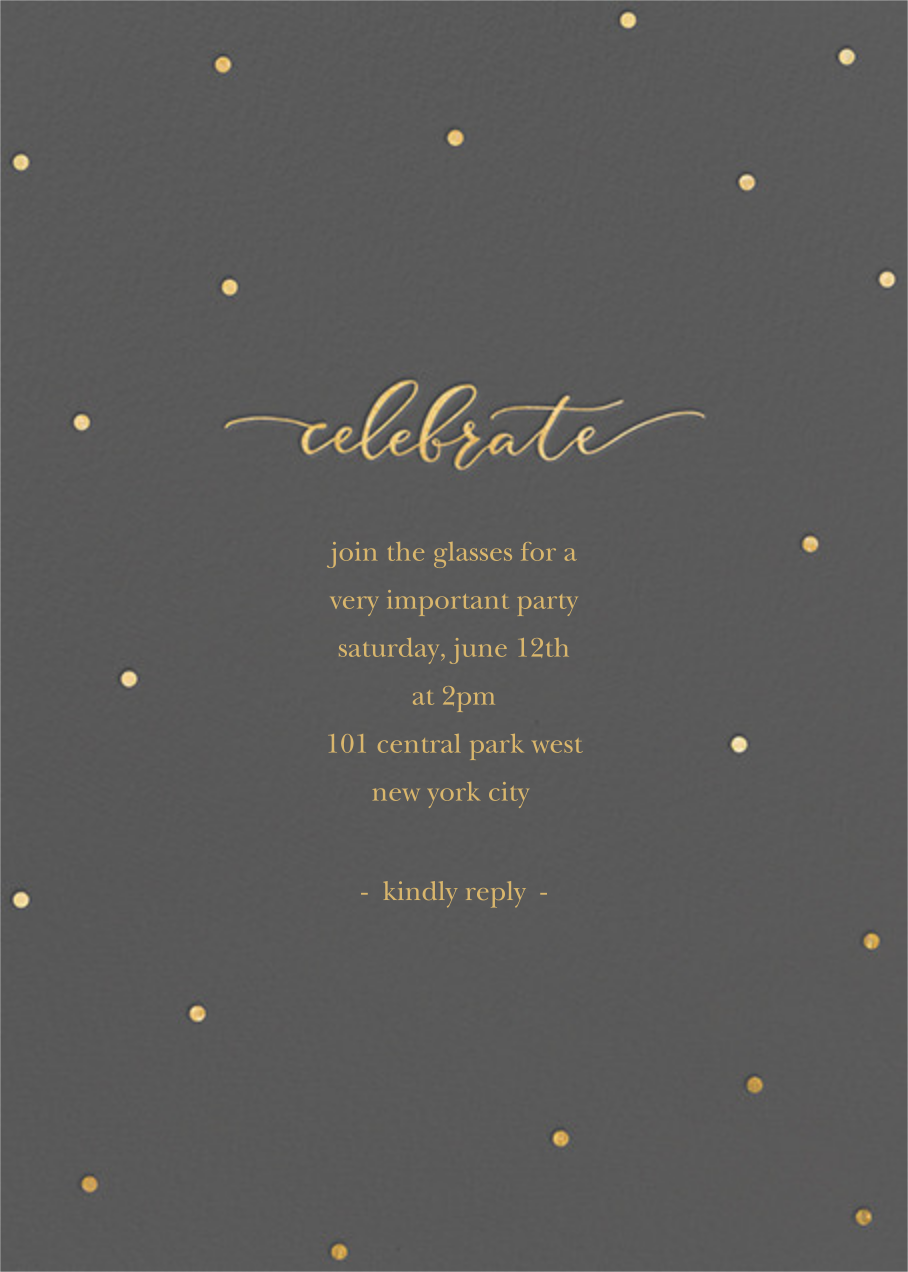 Celebration Dots - Charcoal/Gold - Sugar Paper - Cocktail party