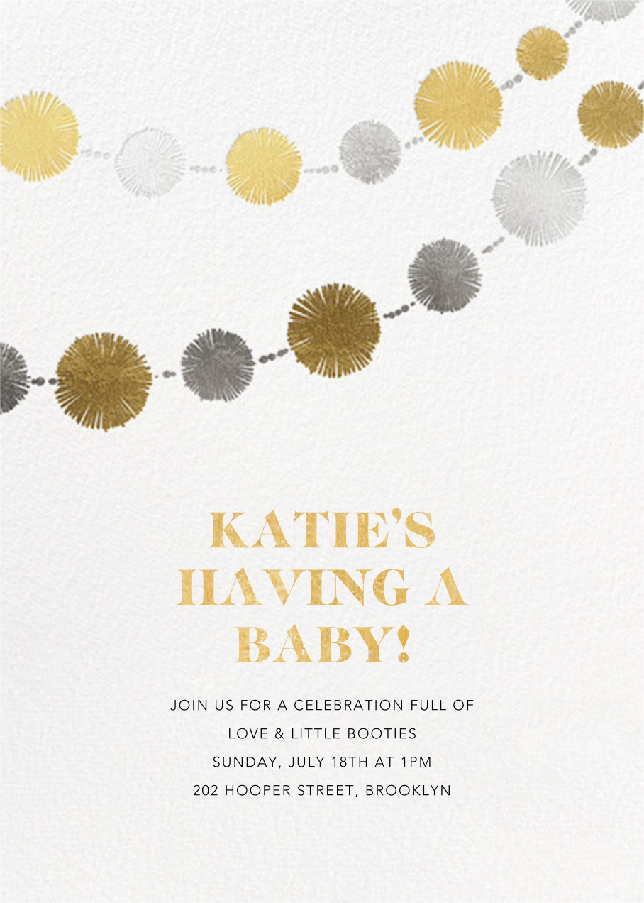 Pom Bunting  - Paperless Post - Baby shower