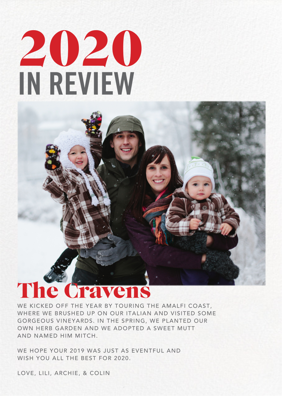 In Review - White - Paperless Post - Holiday cards