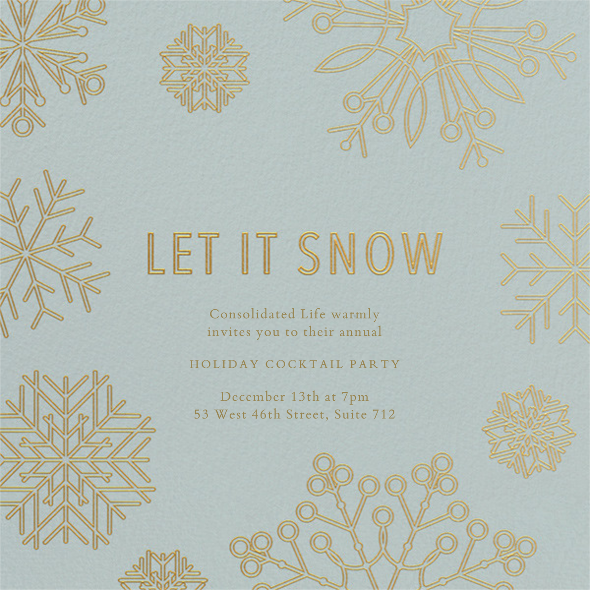 Etched Snowflakes - Blue - Paperless Post - Corporate invitations