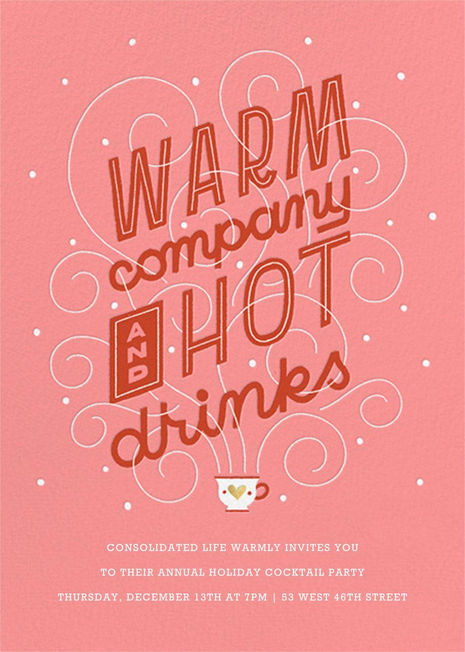 Hot Cuppa Holiday - Blossom - Paperless Post - Corporate invitations