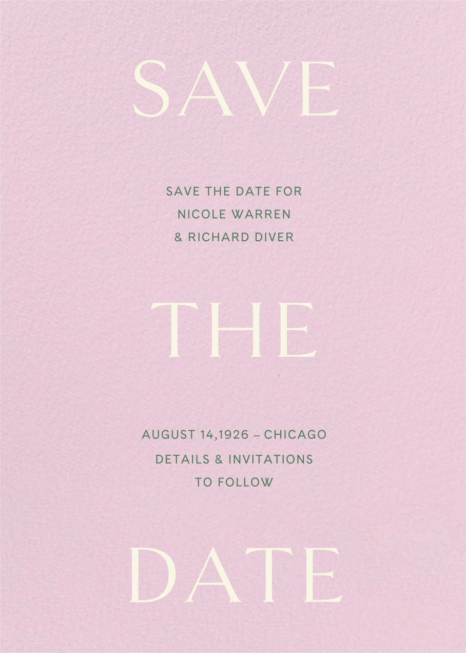Primo (Save the Date) - Blush - Venamour - Save the date