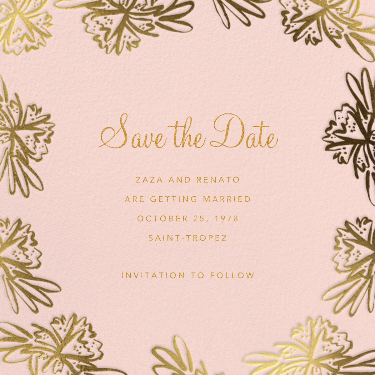 Inked Flowers (Square) - Linda and Harriett - Save the date