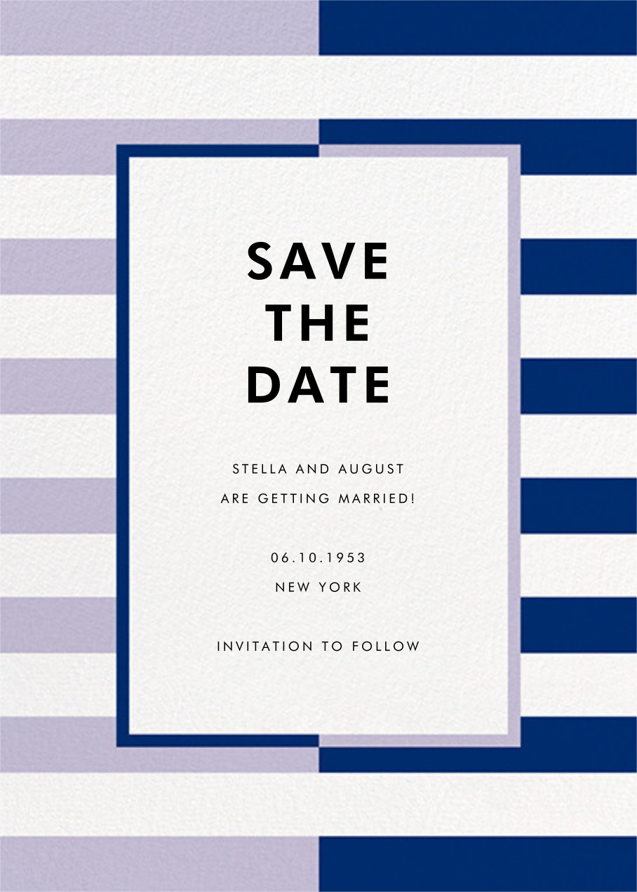 Colorblocked Stripes - Lilac/Navy - kate spade new york - Save the date