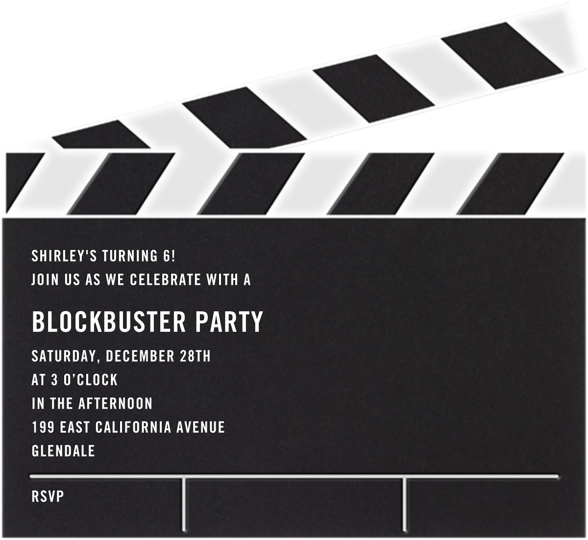 Movie Clapper - Paperless Post - Kids' birthday