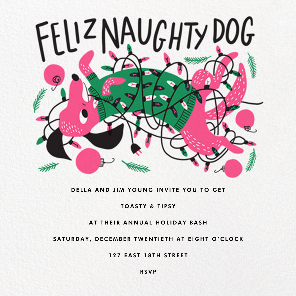 Feliz Naughty Dog (Invitation) - Hello!Lucky - Christmas party