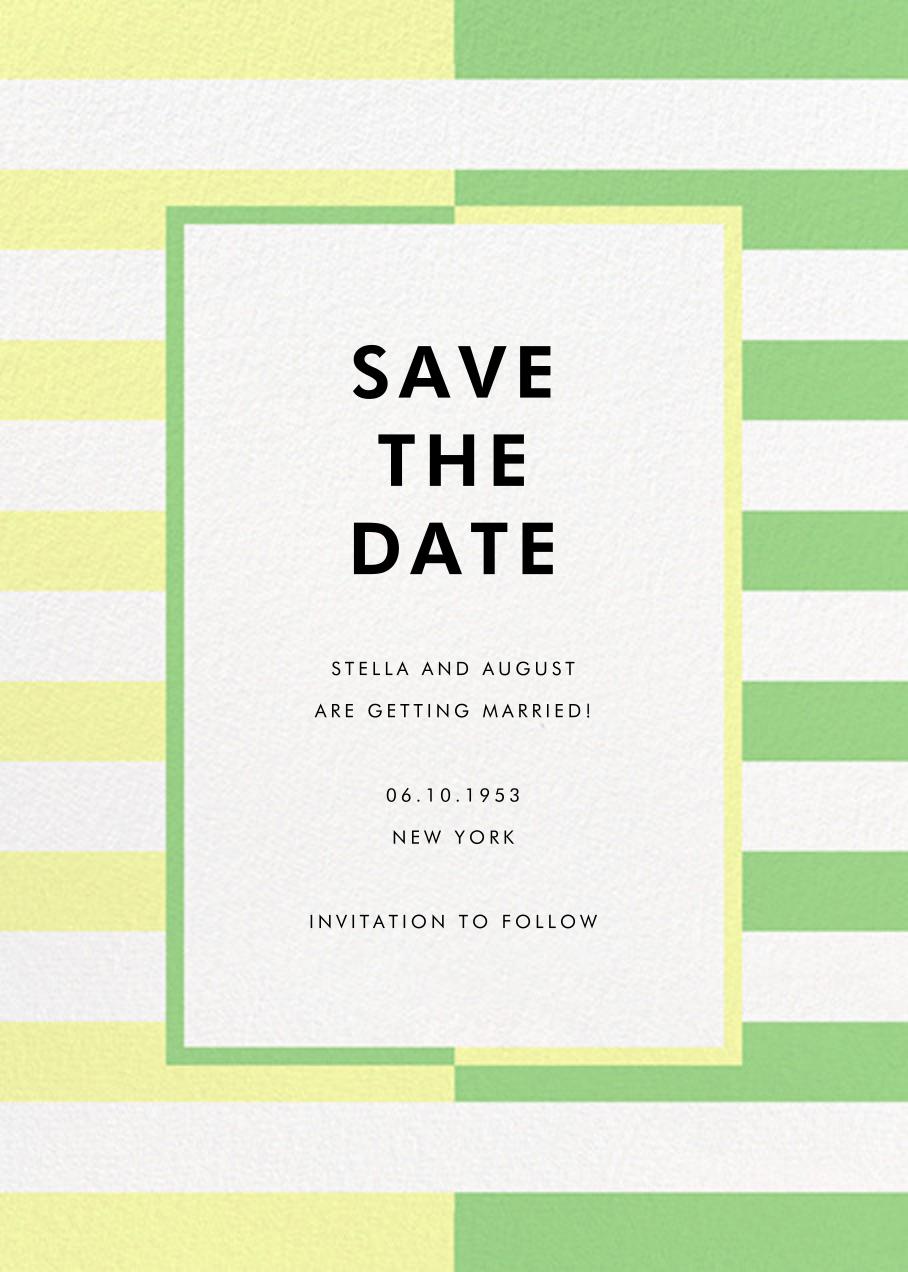 Colorblocked Stripes - Lemon Drop/Meadow - kate spade new york - Save the date